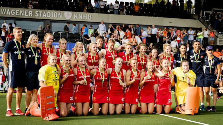 England's players celebrate winning the bronze medal match against Germany at the Women's Rabo EuroHockey Championships in August