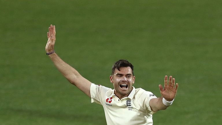 Anderson celebrates after taking a wicket during England's tour match in Adelaide