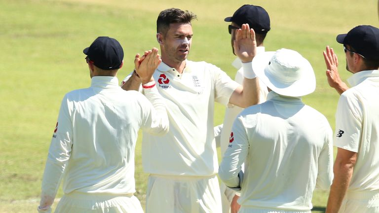 James Anderson celebrates the wicket of Nick Hobson against WA XI