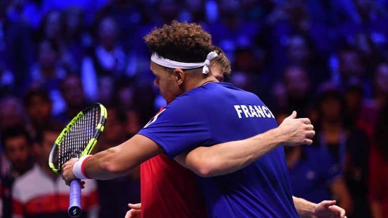 Belgium's David Goffin beat France's Jo-Wilfried Tsonga to set up a decider