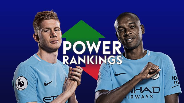 Manchester City's Kevin De Bruyne is top of the Power Rankings season chart, while team-mate Fernandinho is at No 4