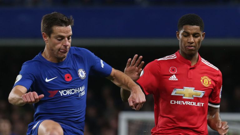 Cesar Azpilicueta and Marcus Rashford battle for possession