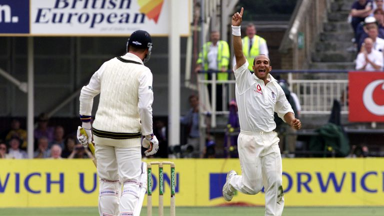 Butcher celebrates the wicket of Brett Lee at Edgbaston in 2001