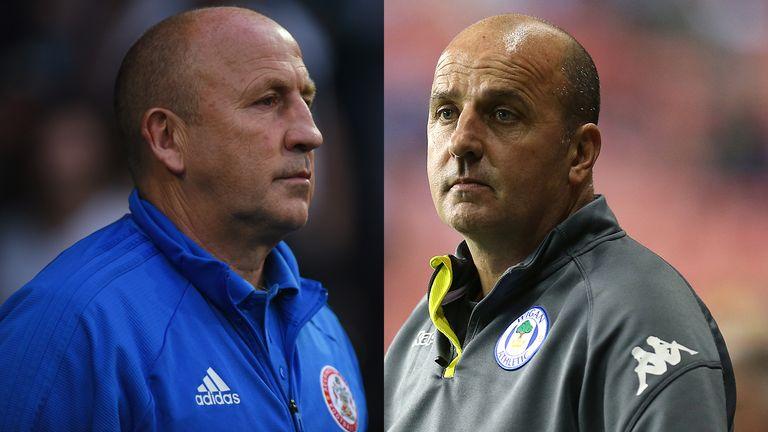 Accrington manager John Coleman and Wigan boss Paul Cook