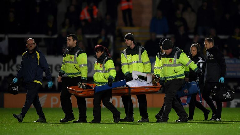 Paul Coutts was stretchered off the field in Sheffield United's win over Burton