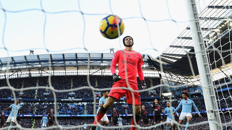 Sergio Aguero scored a penalty against Cech in Manchester City's 3-1 win over Arsenal at the Etihad in November
