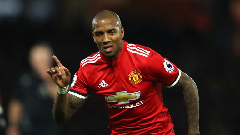 Ashley Young celebrates his second goal against Watford in November