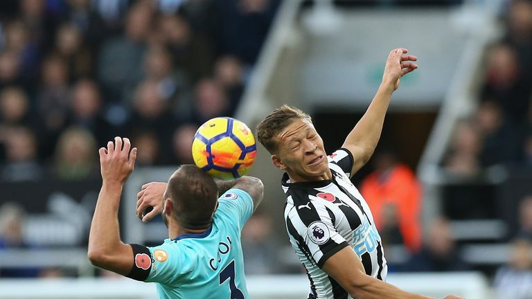 Dwight Gayle (right) saw a goal incorrectly ruled out for offside