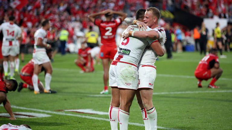 Ryan Hall and Brown celebrate the semi-final win over Tonga