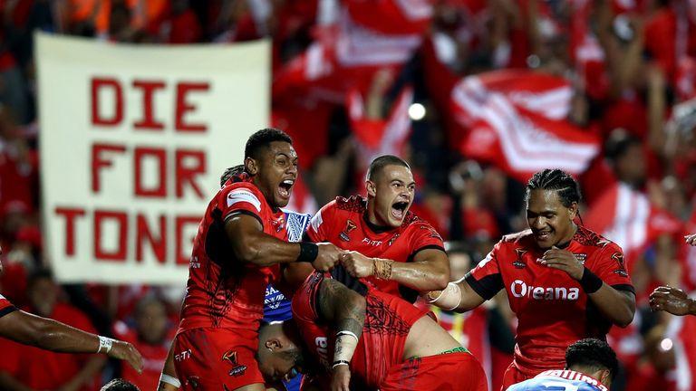 Tonga celebrate Ben Murdoch-Masila's second half try in victory over Samoa