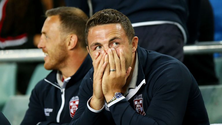 Sam Burgess watched on as England struggled to victory over Lebanon