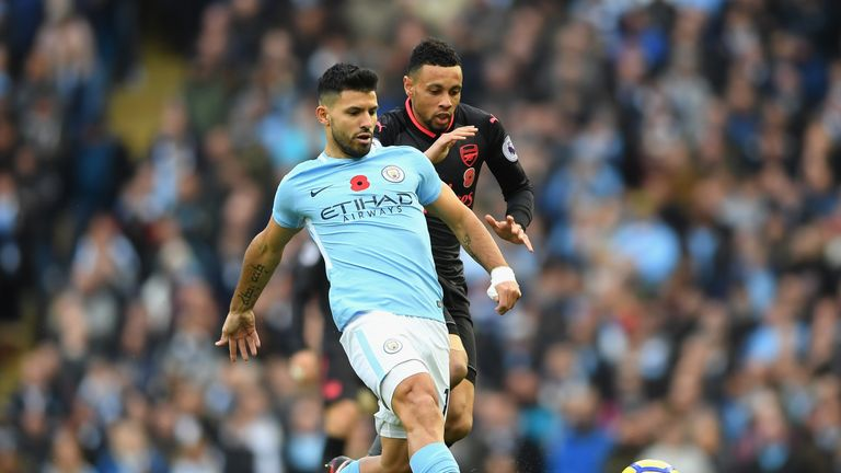 Aguero looks to shake off the challenge of Francis Coquelin