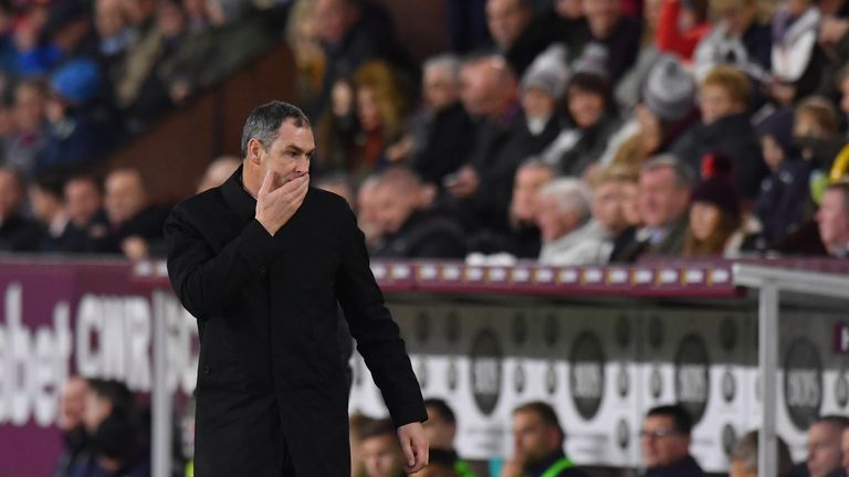 Swansea City manager Paul Clement reacts during the Premier League match at Burnley.