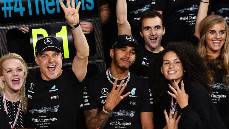 Bottas celebrates his victory in the season-ending Abu Dhabi GP