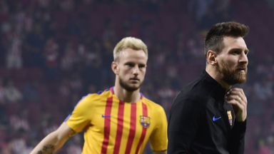 Ivan Rakitic (left) thinks Lionel Messi will stay at Barcelona beyond the summer