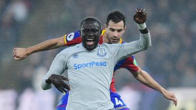 Oumar Niasse is closed down by Crystal Palace's Luka Milivojevic