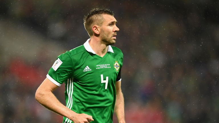 Gareth McAuley during last Thursday's first leg in Belfast