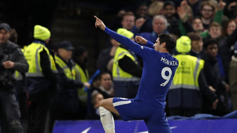 Chelsea's Spanish striker Alvaro Morata celebrates scoring the opening goal during the English Premier League football match between Chelsea and Manchester