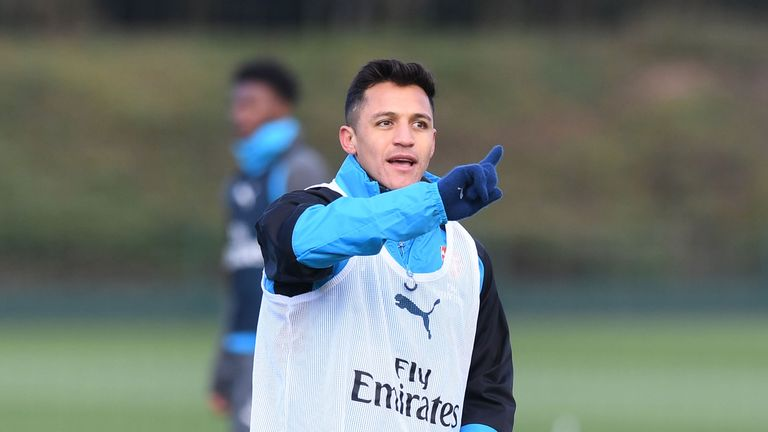 Alexis Sanchez during a training session at London Colney on November 28, 2017
