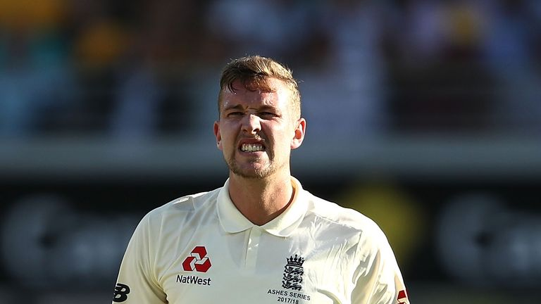 BRISBANE, AUSTRALIA - NOVEMBER 24:  Jake Ball of England reacts while bowling during day two of the First Test Match of the 2017/18 Ashes Series between Au