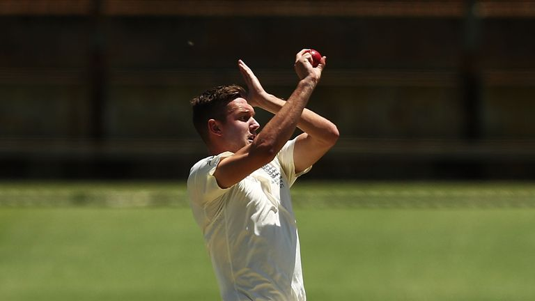 PERTH, AUSTRALIA - NOVEMBER 05:  Jake Ball of England bowls during day two of the Ashes series Tour Match between Western Australia XI and England at WACA