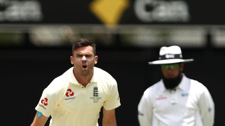 James Anderson of England reacts while bowling in the 1st Ashes Test in Brisbane