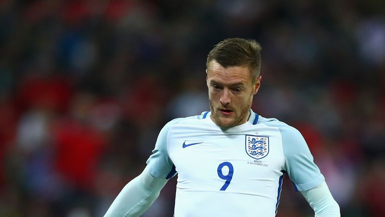 LONDON, ENGLAND - NOVEMBER 14: Jamie Vardy of England in action during the international friendly match between England and Brazil at Wembley Stadium on No