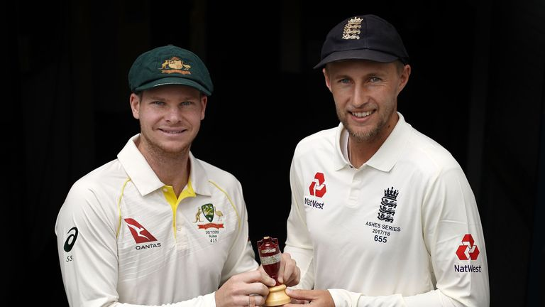 Steve Smith and Joe Root pose with the urn ahead of Thursday's first Test