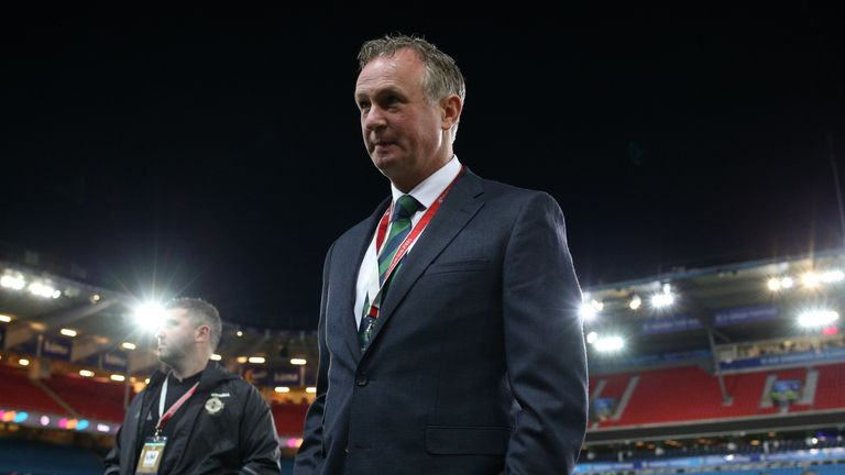 OSLO, NORWAY - OCTOBER 08: The manager of Northern Ireland Michael O'Neill inspects the pitch before the FIFA 2018 World Cup Qualifier between Norway and N