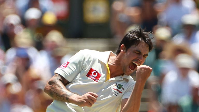 Mitchell Johnson of Australia celebrates the wicket of Kevin Pietersen of England during day two of the Third Ashes Test