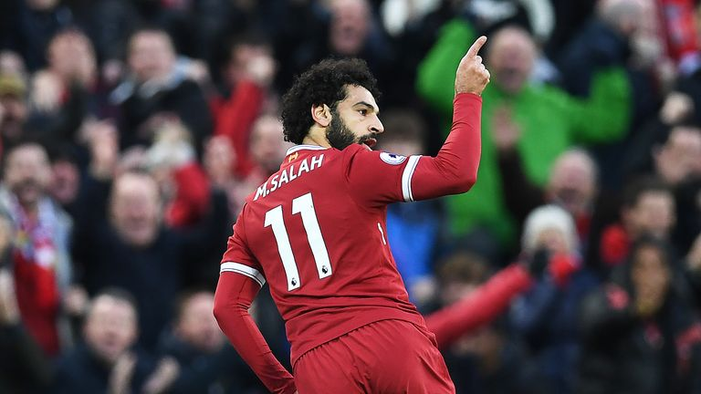 Mohamed Salah celebrates his first goal at Anfield