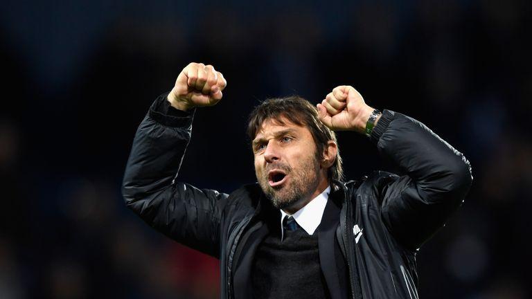 Antonio Conte celebrates his side's 4-0 victory over West Bromwich Albion