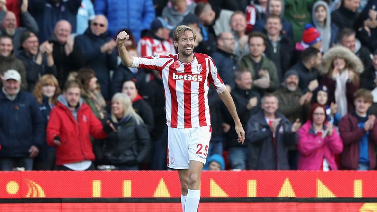 Crouch pumps a fist after his headed goal draws Stoke level