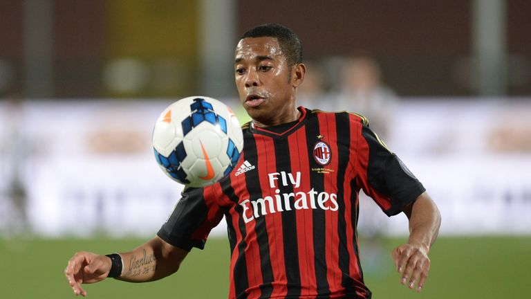 Robinho in action during the Serie A match between Udinese and AC Milan on March 8, 2014