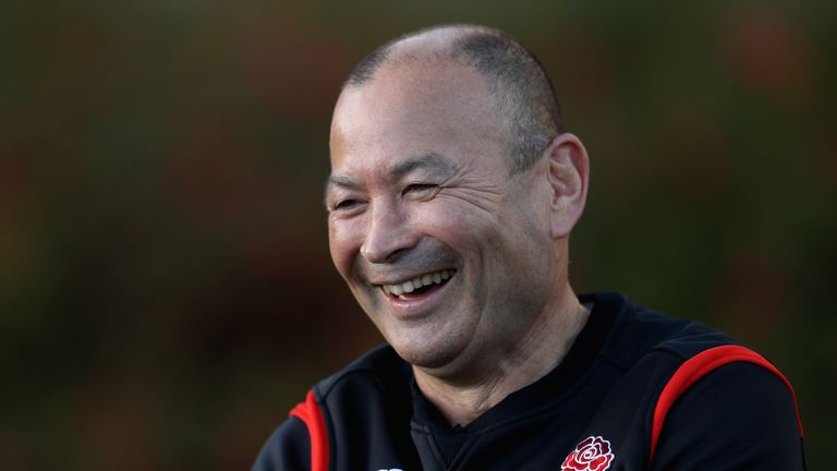 Eddie Jones faces the media during England training at Pennyhill Park on November 23, 2017