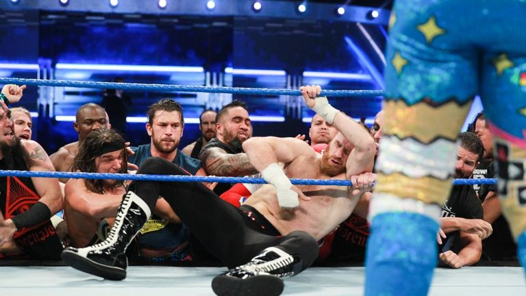The SmackDown roster put a beating on Sami Zayn during his lumberjack match on Tuesday