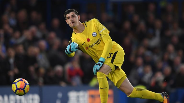 Thibaut Courtois kept a clean sheet in the win against Manchester United
