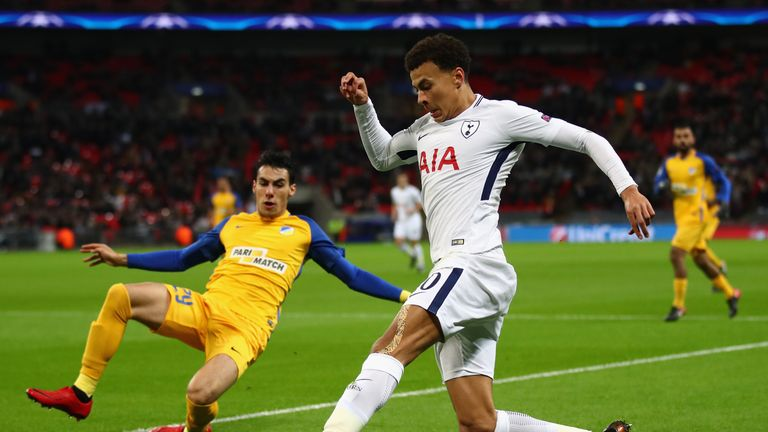 Alli in action against Apoel during Wednesday's Champions League tie