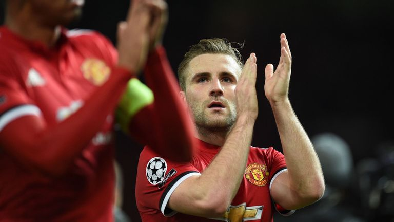Luke Shaw claps the fans following Manchester United's win over CSKA Moscow