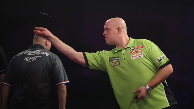 Michael van Gerwen kicked off his World Championship defence with victory over Christian Kist
