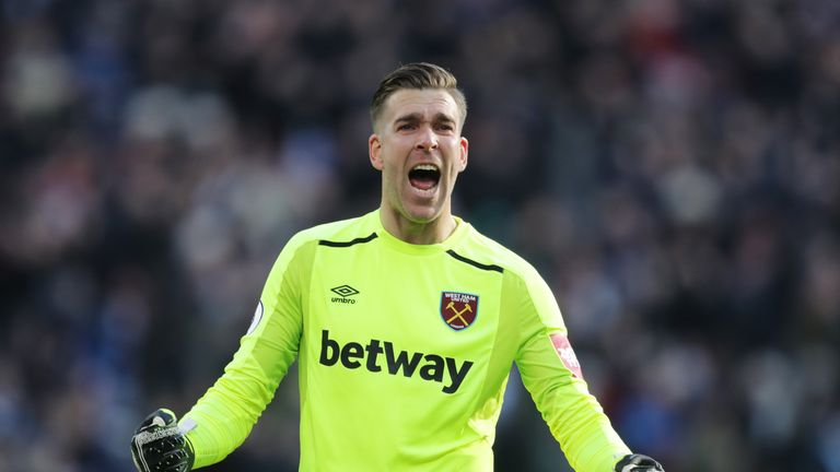 Adrian celebrates after Arnautovic gave West Ham a 1-0 lead