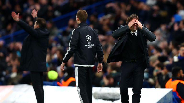 Antonio Conte reacts during the clash at Stamford Bridge