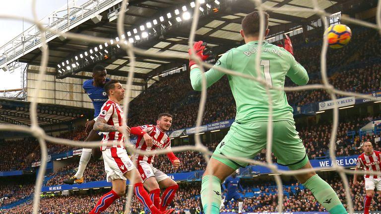 Antonio Rudiger heads home Chelsea's first goal against Stoke City
