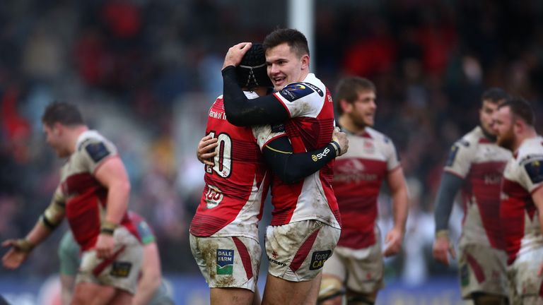 Jacob Stockdale and Christian Lealiifano celebrate after the final whistle