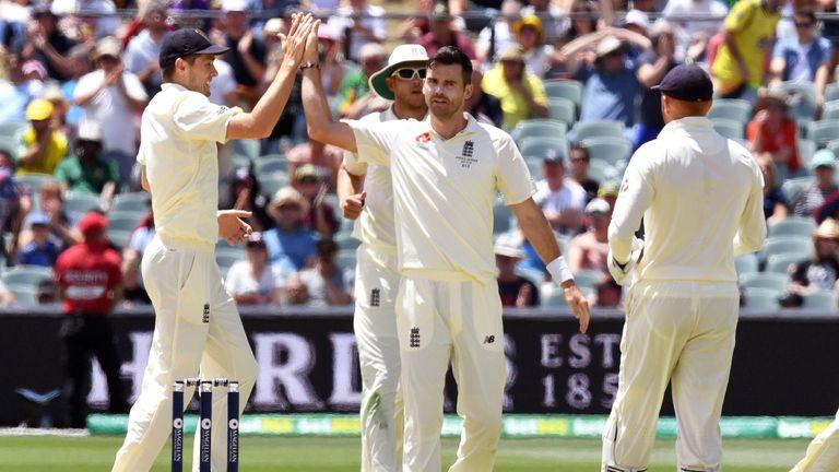 James Anderson celebrates dismissing Peter Handscomb in Adelaide