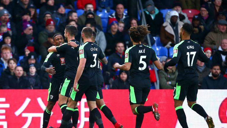 Jermain Defoe scored twice in Bournemouth's 2-2 draw at Crystal Palace on Saturday