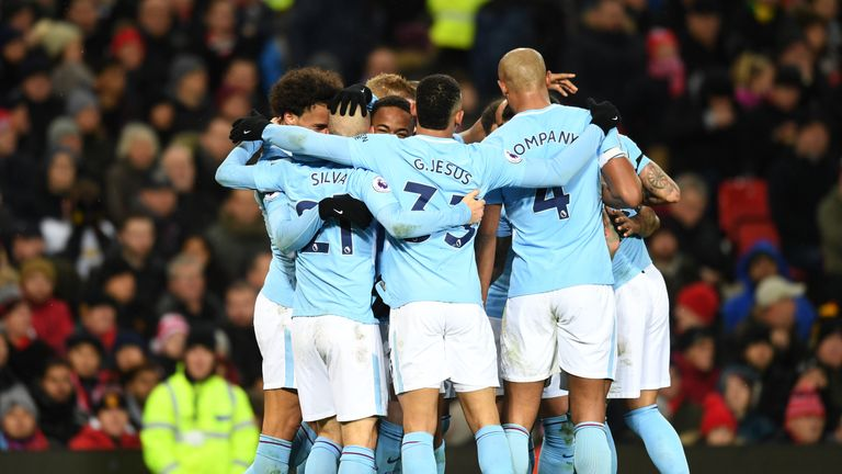Man City celebrate during their win against Manchester United