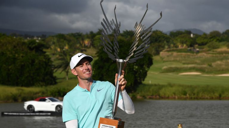 Dylan Frittelli celebrates his second European Tour success of the year