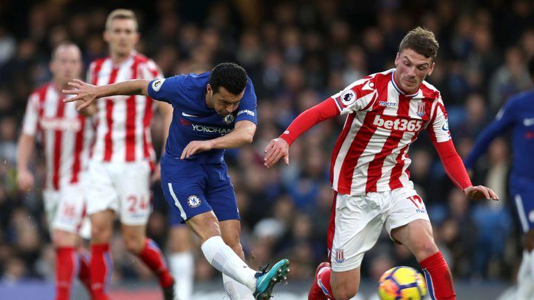 Pedro scores Chelsea's third goal against Stoke City