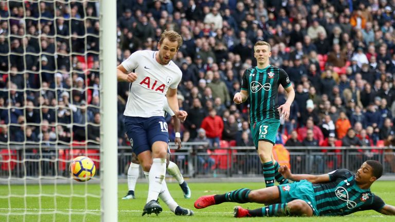 Harry Kane scores his and Tottenham's second goal